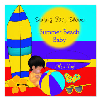 Summer Baby Shower Boy Beach Baby Surfing Baby 5.25x5.25 Square Paper Invitation Card