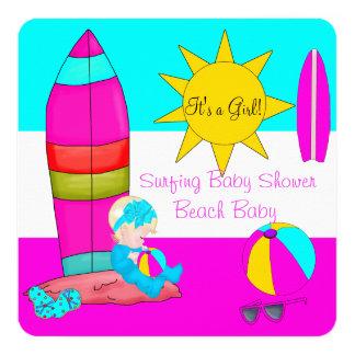 Summer Baby Shower Girl Beach Baby Surfing Baby 4 Invitation