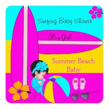 Beach Themed Summer Baby Shower Girl Beach Baby Surfing Baby 5 Card