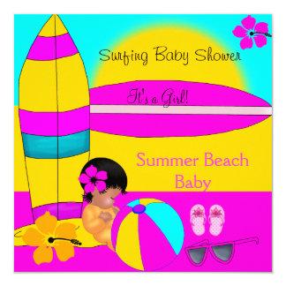 Summer Baby Shower Girl Beach Baby Surfing Baby 8 Card