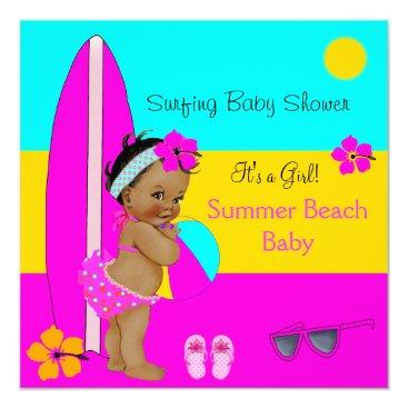 Beach Themed Summer Baby Shower Girl Beach Baby Surfing Ethnic Card