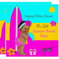Summer Baby Shower Girl Beach Baby Surfing Ethnic Invitation
