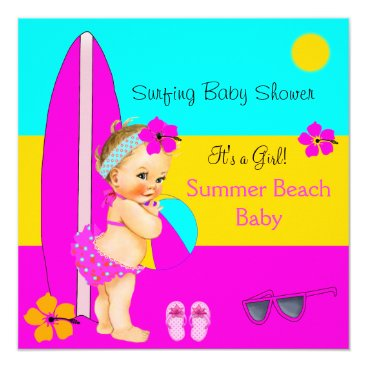 Beach Themed Summer Baby Shower Girl Beach Surfing Blonde Card