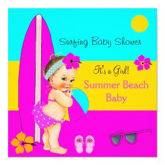 Summer Baby Shower Girl Beach Surfing Brunette Card
