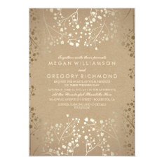 Summer Baby's Breath - Gold Floral Wedding Card at Zazzle