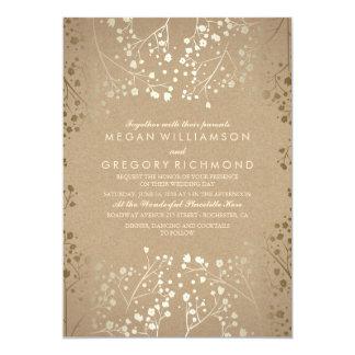 Summer Baby's Breath - Gold Floral Wedding Card