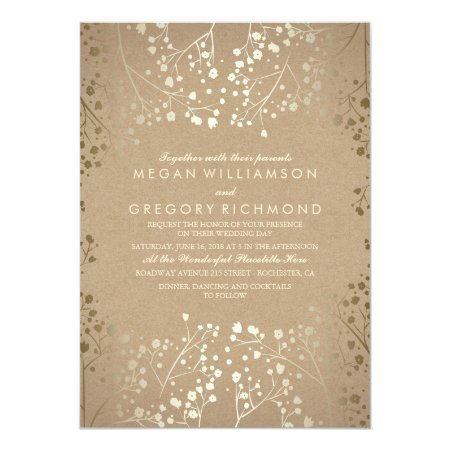 Summer Baby's Breath - Gold Floral Wedding Card