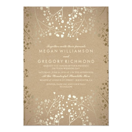 summer babys breath gold floral wedding card - Summer Wedding Invitations
