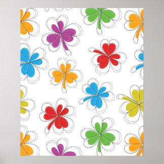 Summer Background Clover Leaf Poster