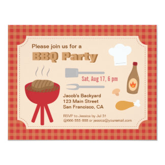 Summer Backyard bbq party, plaid pattern Personalized Announcement