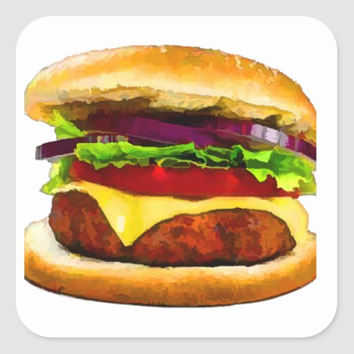 Summer Barbecue Burger Square Stickers