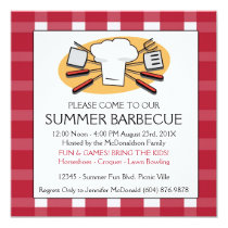 Summer Barbecue Gingham Tablecloth Picnic Invite