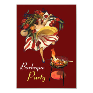 SUMMER BARBEQUE PARTY DANCE , ITALIAN KITCHEN PERSONALIZED INVITES