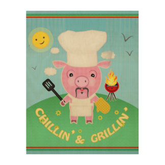 Summer Barbeque Pig Chef Wood Wall Art