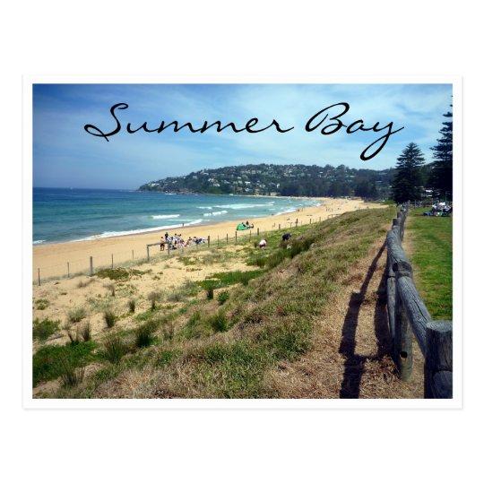 summer bay beach postcard
