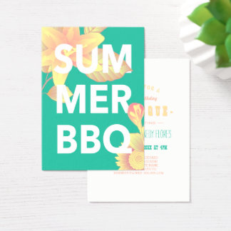 SUMMER BBQ bright floral Business Card