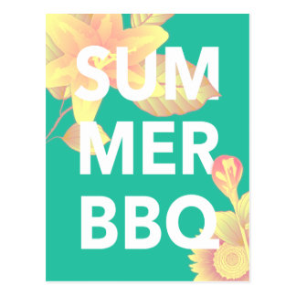 SUMMER BBQ bright floral Postcard