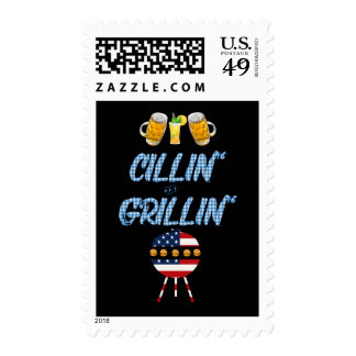 Summer BBQ Cillin' and Grillin' 4th of July Postage