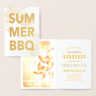 SUMMER BBQ gold foil floral Foil Card