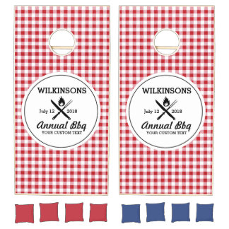 Summer BBQ Grill Cookout Reunion Red Gingham Check Cornhole Set