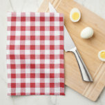"Summer BBQ Grill Cookout Reunion Red Gingham Check Kitchen Towel<br><div class=""desc"">A perfect design for your summer bbq, cookout or reunion - crisscrossed grilling utensils and a flame set against a red gingham check background pattern. Personalize by adding your name, event, date and another line of custom text. Celebrate the summer - with this retro/vintage design that&#39;s also while fun and...</div>"