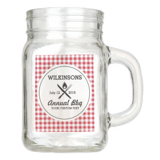 Summer BBQ Grill Cookout Reunion Red Gingham Check Mason Jar