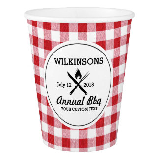 Summer BBQ Grill Cookout Reunion Red Gingham Check Paper Cup