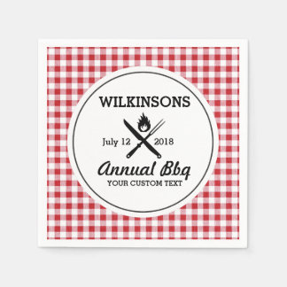 Summer BBQ Grill Cookout Reunion Red Gingham Check Paper Napkin