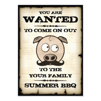 "Summer BBQ Mustache Pig Wanted Invitations 5"" X 7"" Invitation Card"
