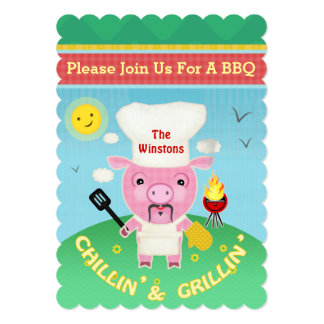 Summer BBQ Party Invitation Pig Roast