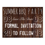 Summer BBQ Party Save The Date Rustic Brown Wood Postcard