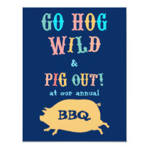 Summer BBQ Pig Out Party Invitation
