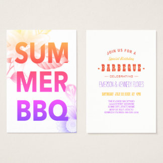 SUMMER BBQ summer floral Business Card