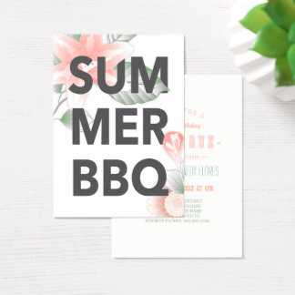 SUMMER BBQ vintage floral Business Card