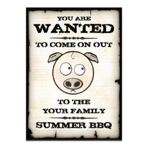 Summer BBQ Wanted Invitations