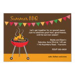 """Summer BBQ with Charcoal Grill 5"""" X 7"""" Invitation Card"""