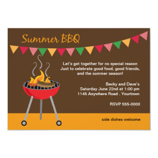 Summer BBQ with Charcoal Grill 5x7 Paper Invitation Card