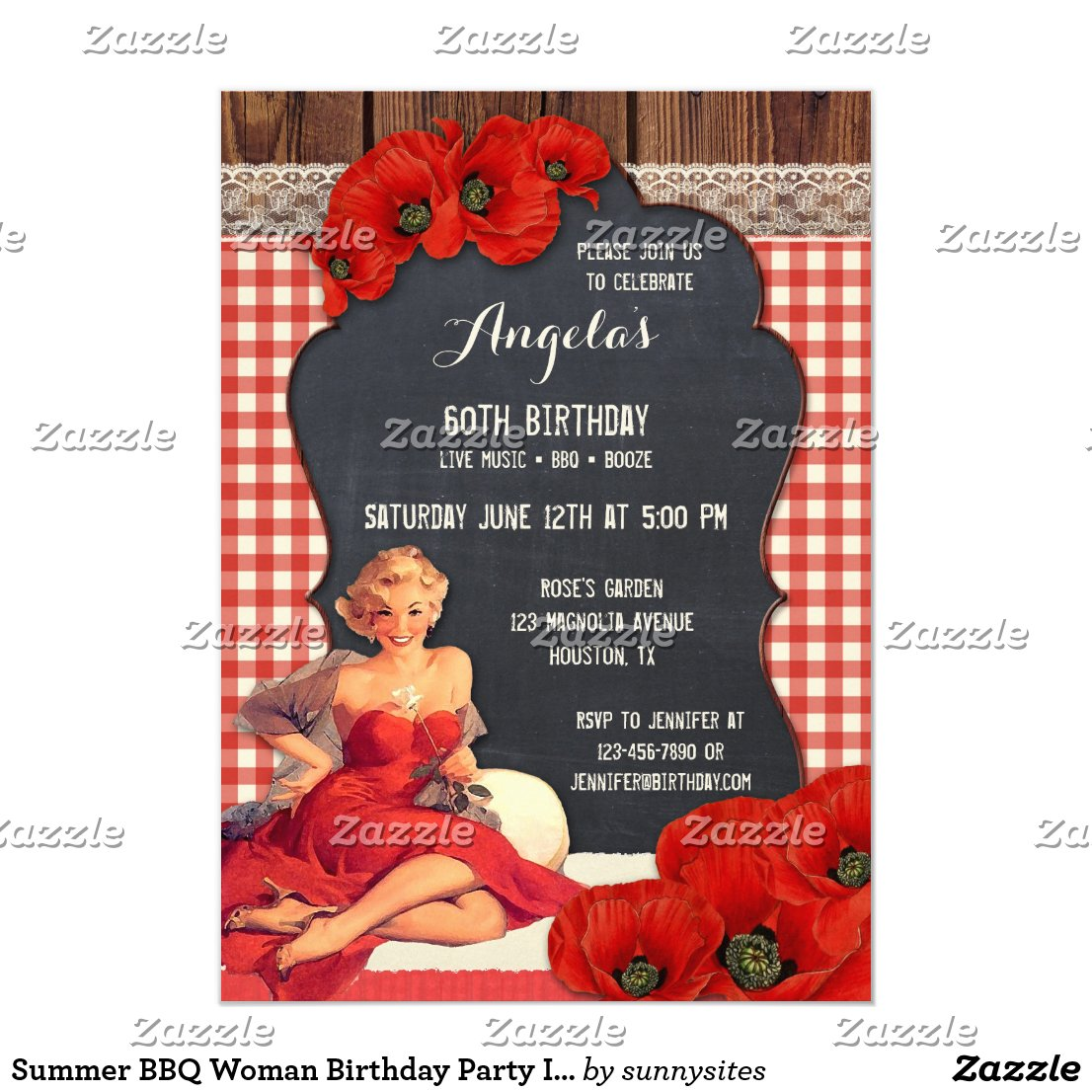 Summer BBQ Woman Birthday Party Invitation