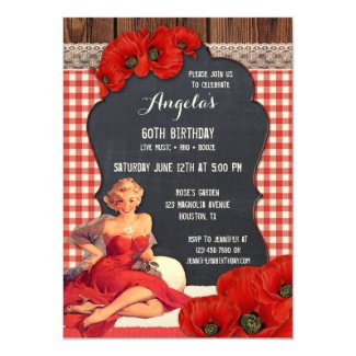 Summer BBQ Woman Birthday Party Invitation