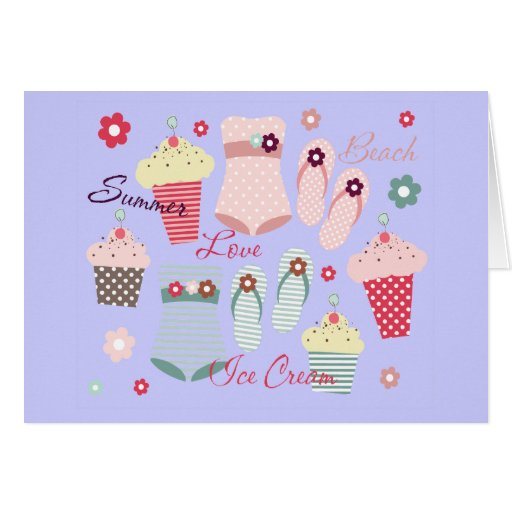 Summer Beach and Ice Cream Cones Greeting Card