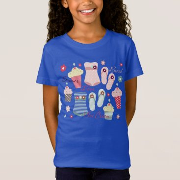 Beach Themed Summer Beach and Ice Cream Cones T-Shirt