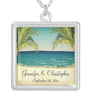 Summer Beach and Palm Trees Wedding Memento Jewelry