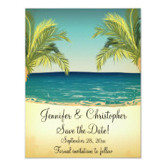 Summer Beach and Palm Trees Wedding Save the Date 4.25x5.5 Paper Invitation Card at Zazzle