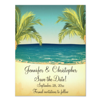 Summer Beach and Palm Trees Wedding Save the Date 4.25x5.5 Paper Invitation Card