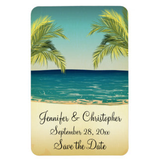 Summer Beach and Palm Trees Wedding Save the Date Magnet
