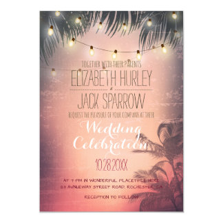 Summer Beach and Wedding String Lights Invitations