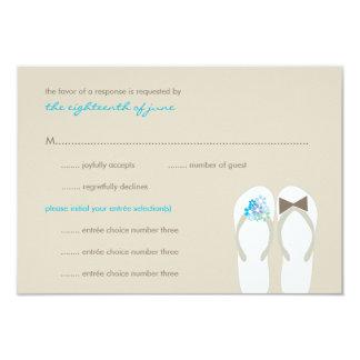 Summer Beach Aqua Blue Flip Flops Wedding RSVP 3.5x5 Paper Invitation Card