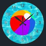 """Summer Beach Ball Large Clock<br><div class=""""desc"""">A cool pool timepiece</div>"""