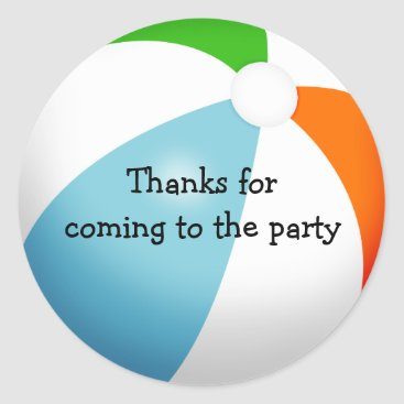 cbendel Summer Beach Ball Pool Party Thank You Classic Round Sticker