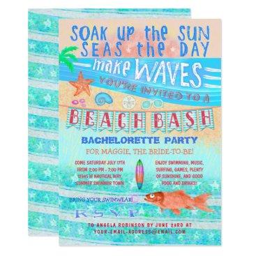 Beach Themed Summer Beach Bash Bachelorette Fish Surf Swim Fun Card